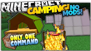 CAMPING IN VANILLA MINECRAFT! | Tents & Bonfires | Only One Command (Minecraft Vanilla Mod)