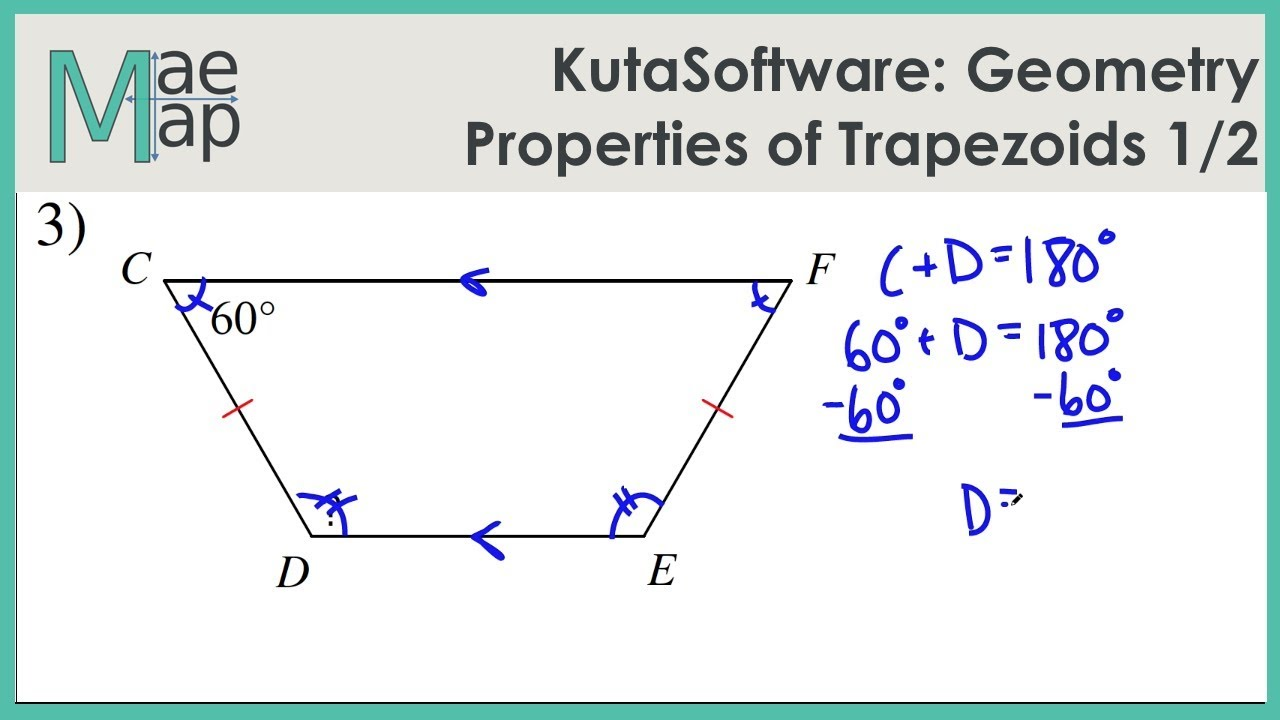 worksheet Kite And Trapezoid Properties Worksheet kutasoftware geometry properties of trapezoids part 1 youtube 1
