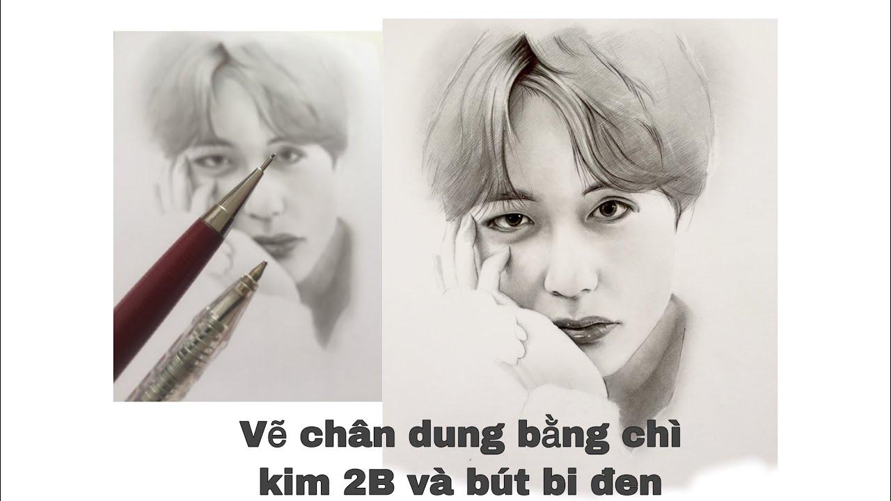 Drawing V | BTS | vẽ bằng chì kim 2b và bút bi đen