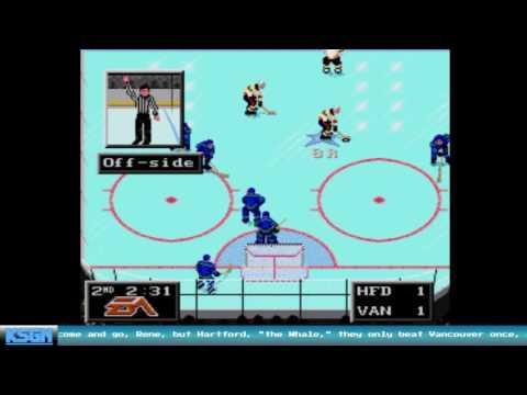 Hartford Whalers vs Vancouver Canucks - NHL '94 - Sega Genesis