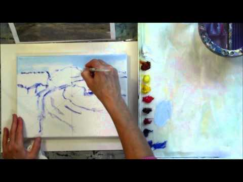"""The Red Tree"" Part 1 – Beginning Step by Step Acrylic Country Road Landscape Painting Demo"