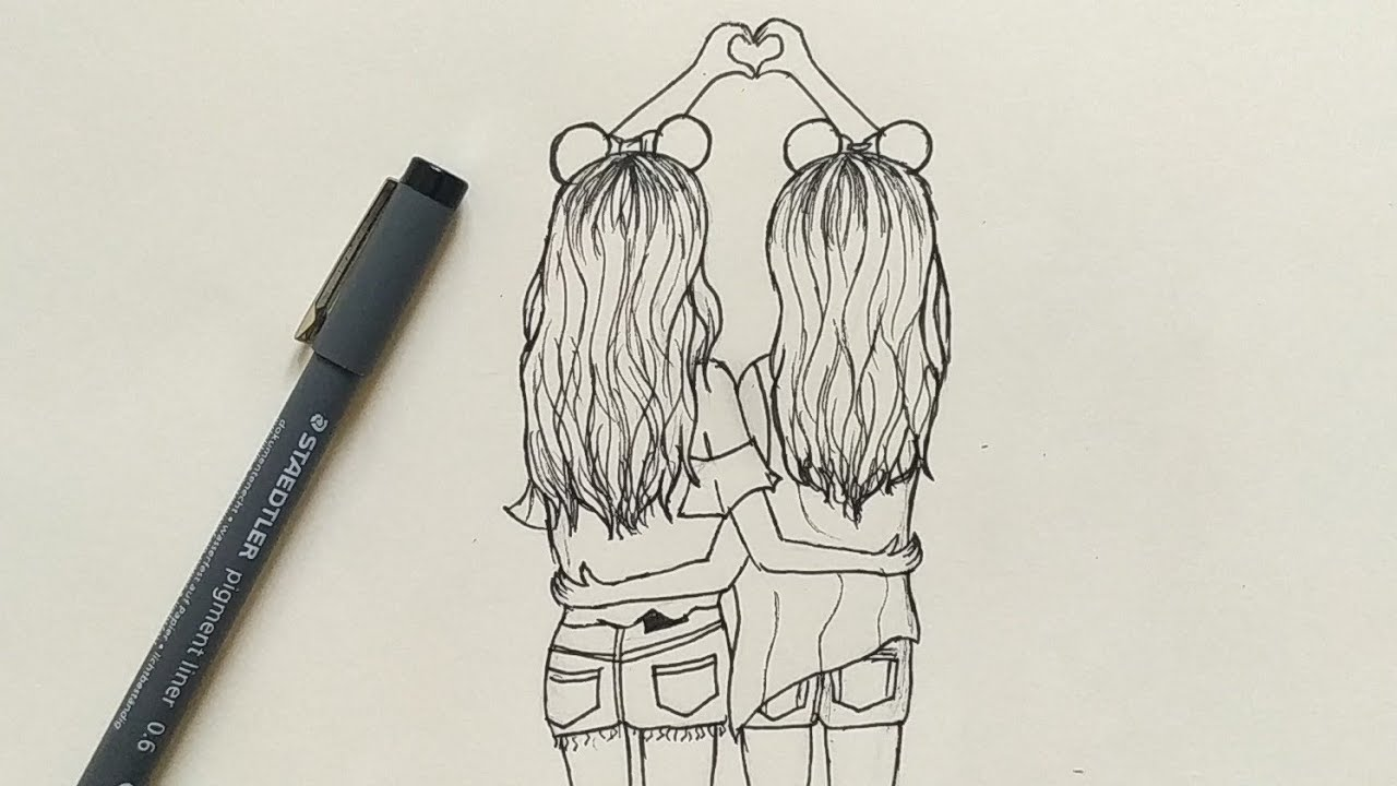 How To Draw Best Friends Easy Step By Step Youtube