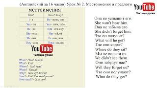 (Английский за 16 часов) Урок № 2. Местоимения и предлоги