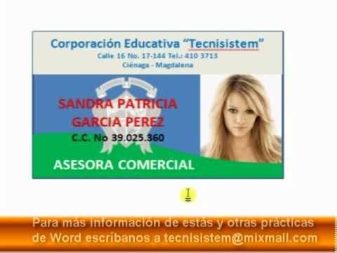 LECCION 13 - CREAR CARNET CORPORATIVO EN WORD - YouTube - formatos para gafetes