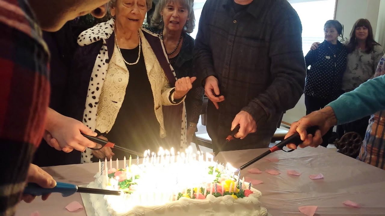 100 yr old Grandma blows out her own birthday cake YouTube