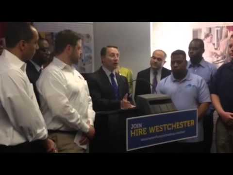 "Rob Astorino explains ""Hire Westchester,"" wherein the county will pay half of a company's training costs for new hires up to $20,000 per business."