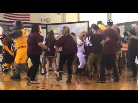 Seniors had a dance-off with visiting team mascots as Fairport Harding High School was named The Ohi