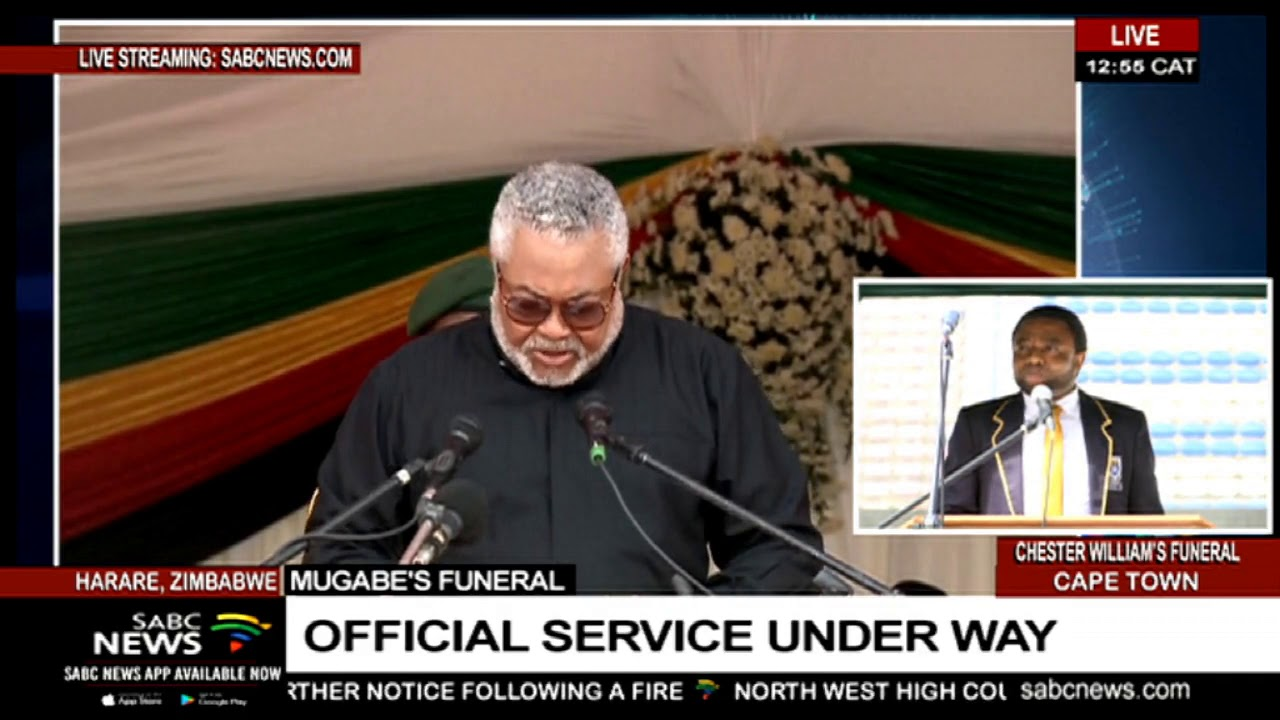 Ghana's Jerry J Rawlings pays tribute to Mugabe
