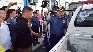 NCRPO chief Guillermo Eleazar confronts two police officers from QCPD Novaliches Police Station