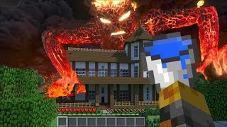 GIANT LAVA MONSTER APPEARS IN OUR HOUSE IN MINECRAFT!! BRING WATER BUCKETS FOR SURVIVAL!! Minecraft