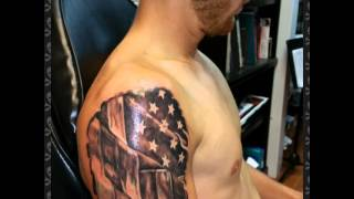 Guy gets 3d American flag tattoo rip out by shadow