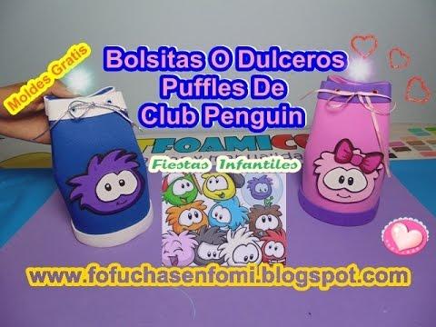 e39b1d509 BOLSITAS O DULCEROS EN FOAMI CON LOS PUFFLES DE CLUB PENGUIN - YouTube