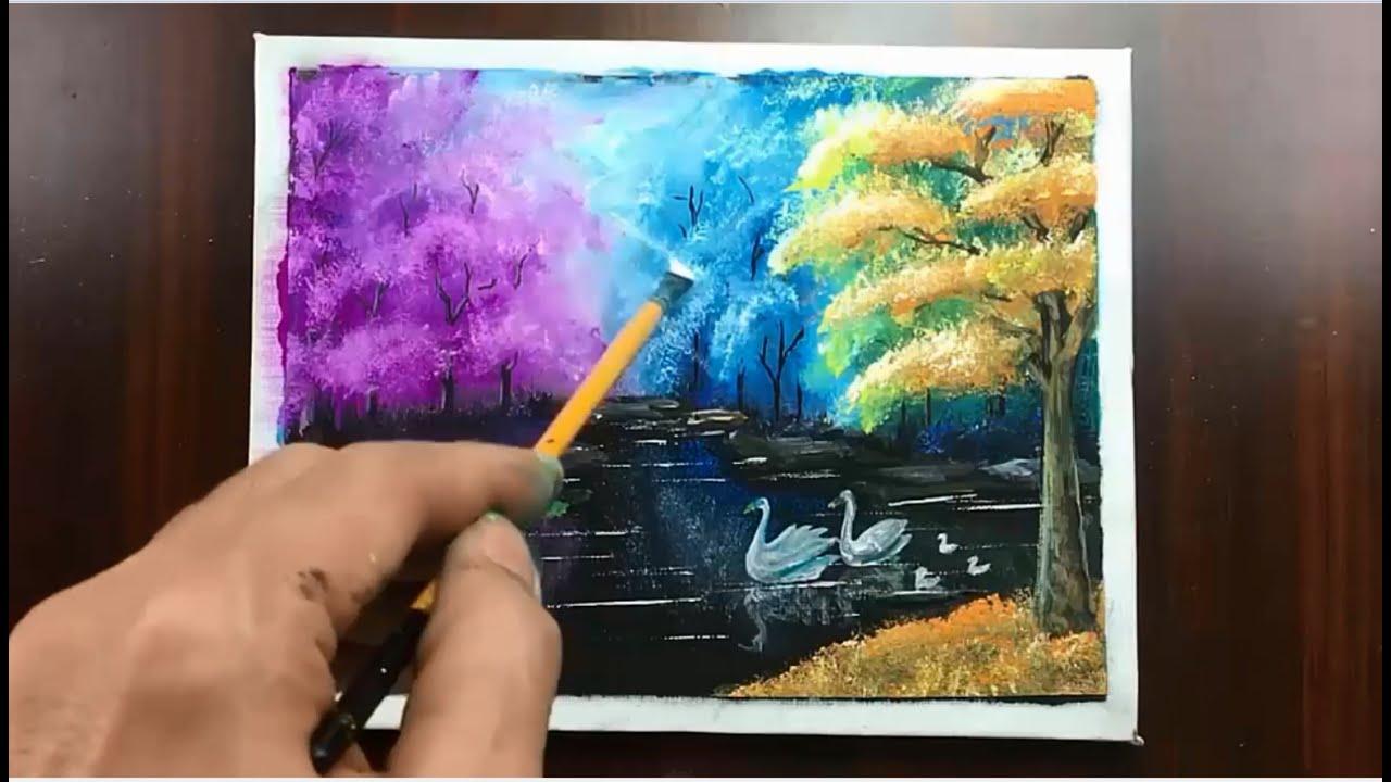 Vẽ tranh phong cảnh đơn giản / Daily relaxation art # 16 / Acrylic / Cong Dan art