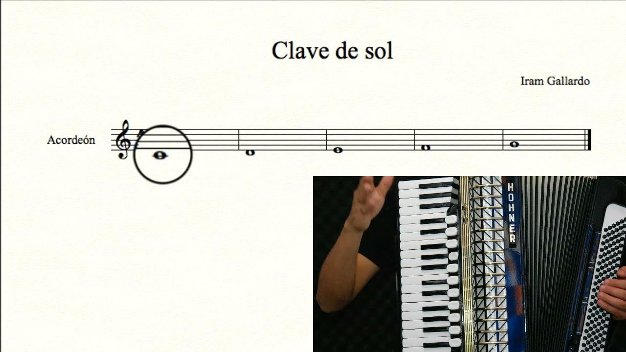 6. Curso gratuito de acordeón de tecla - Mano derecha y clave de sol