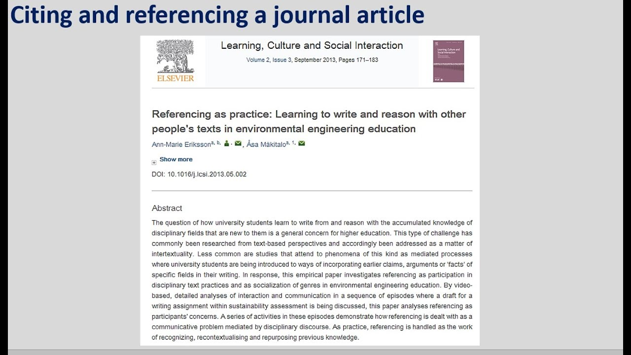 How to cite and reference a journal article