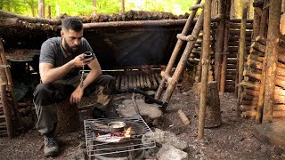Bushcraft Camp & Fishing: Catch and Cook Over The Fire