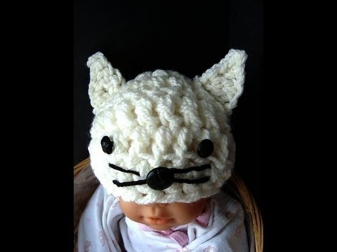 6b8f00abc8d0a KITTY KAT HAT, costume, cat, feline, baby hat, how to crochet a kitty hat