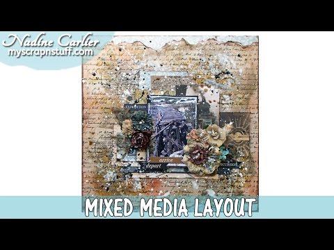 """Old Railroad"" Mixed Media Scrapbook Layout"