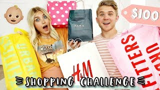 $100 BABY SHOPPING CHALLENGE! Husband vs Wife | Aspyn Ovard