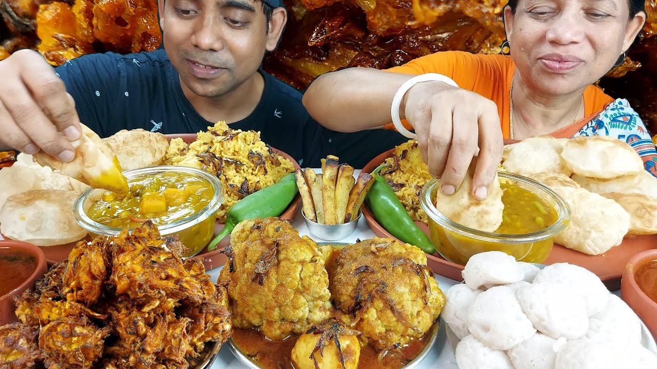 Biryani and Puri Eating Mukbang Show with Mother