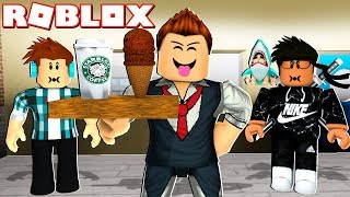 WORKING IN MY NEW ROBLOX CAFETERY!!