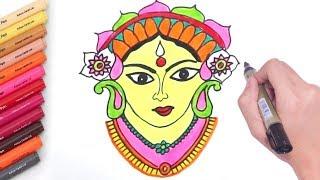 How to Draw Durga Mata Step By Step   Durga Mata Drawing   By Drawing Art