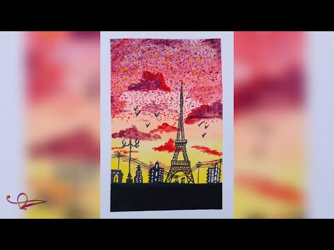 Eiffel Tower at Sunset | Scenery | Watercolour Painting | Time-lapse