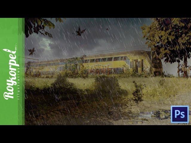 Abandoned train - Photoshop speedart - time-lapse