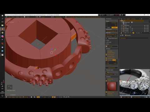 """Кольцо с  иммитацией камней. Часть 2. Подготовка и экспорт под """"таблетку"""". Blender 3d."""