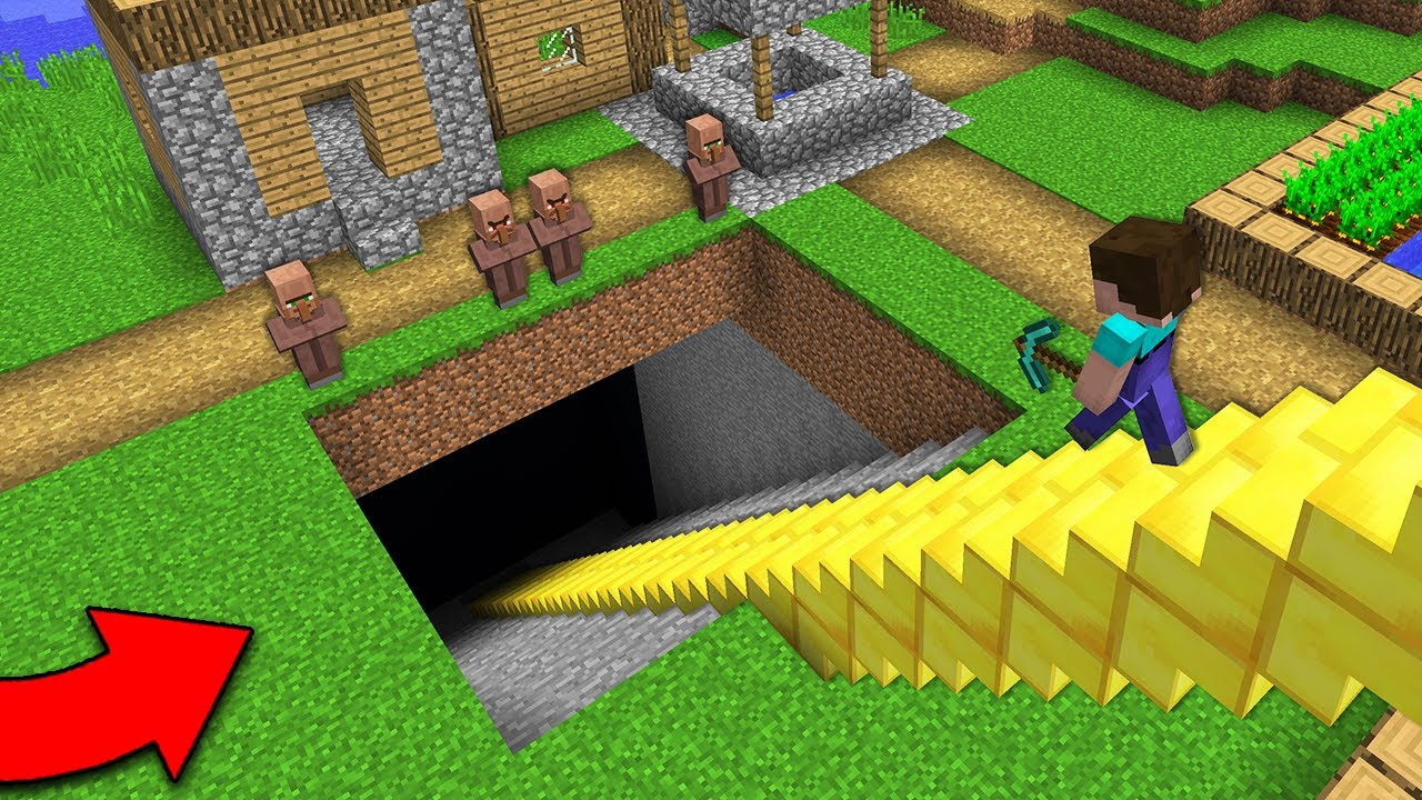WHY DOES THIS GOLDEN STAIRCASE LEAD TO THE UNDERGROUND? Minecraft - NOOB vs PRO