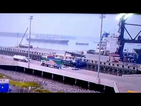 A big vessel ran into a barge near SSIT port on Nov 17, 2017