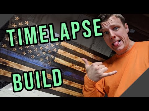 DIY Wooden Thin Blue Line American Flag |||Timelapse|||