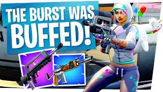 THE BURST RIFLE WAS BUFFED! New Best Rifle? - Fortnite New Update