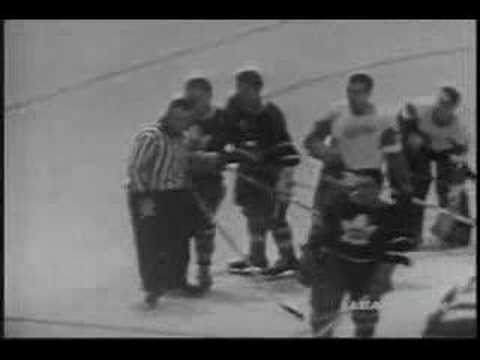 Al Arbour vs Pete Conacher 1957 hockey fight