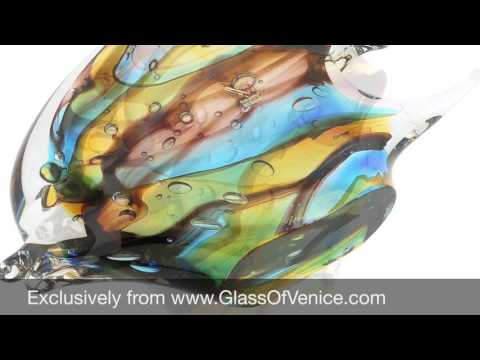 Murano Glass Sommerso Angel Fish Sculpture