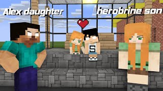 ALEX DAUGHTER FALL IN LOVE WIT HEROBRINE SON MONSTER SCHOOL ANIMATION