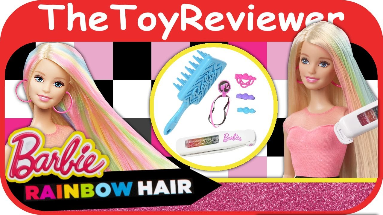 Barbie Rainbow Hair Doll Unboxing Toy Review by ...