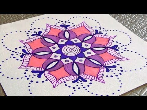 faire des mandalas et coloriage draw an easy mandala youtube. Black Bedroom Furniture Sets. Home Design Ideas