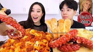 GIANT GRILLED OCTOPUS + CHEESY WIDE NOODLE PAPPARDELLE PASTA MUKBANG
