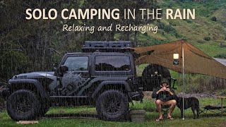 SOLO CAMPING in tнe Rain [ Car camping, Jeep Wrangler overland, Tarp Shelter, Relaxing ] SoC Ep 10