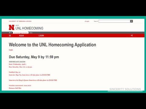 University of Nebraska-Lincoln Homecoming Application