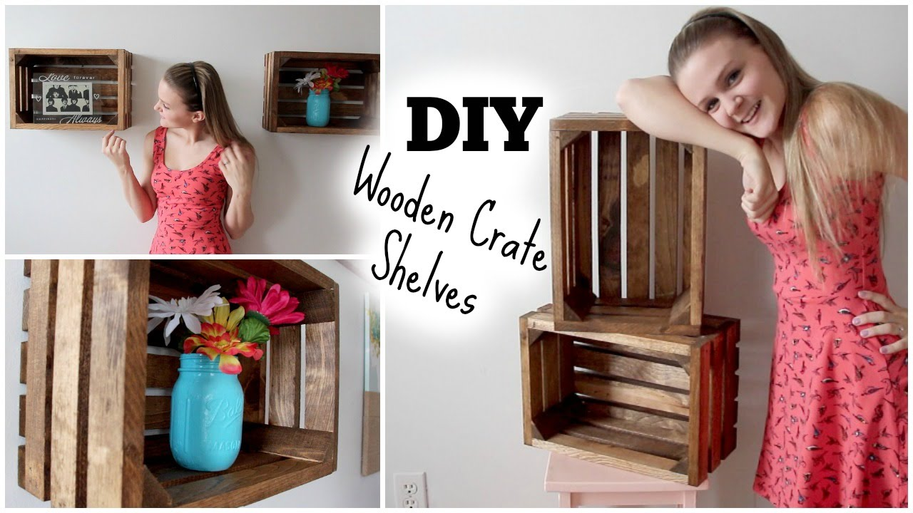 diy wooden crate shelves apartment decor youtube - Using Crates As Bookshelves