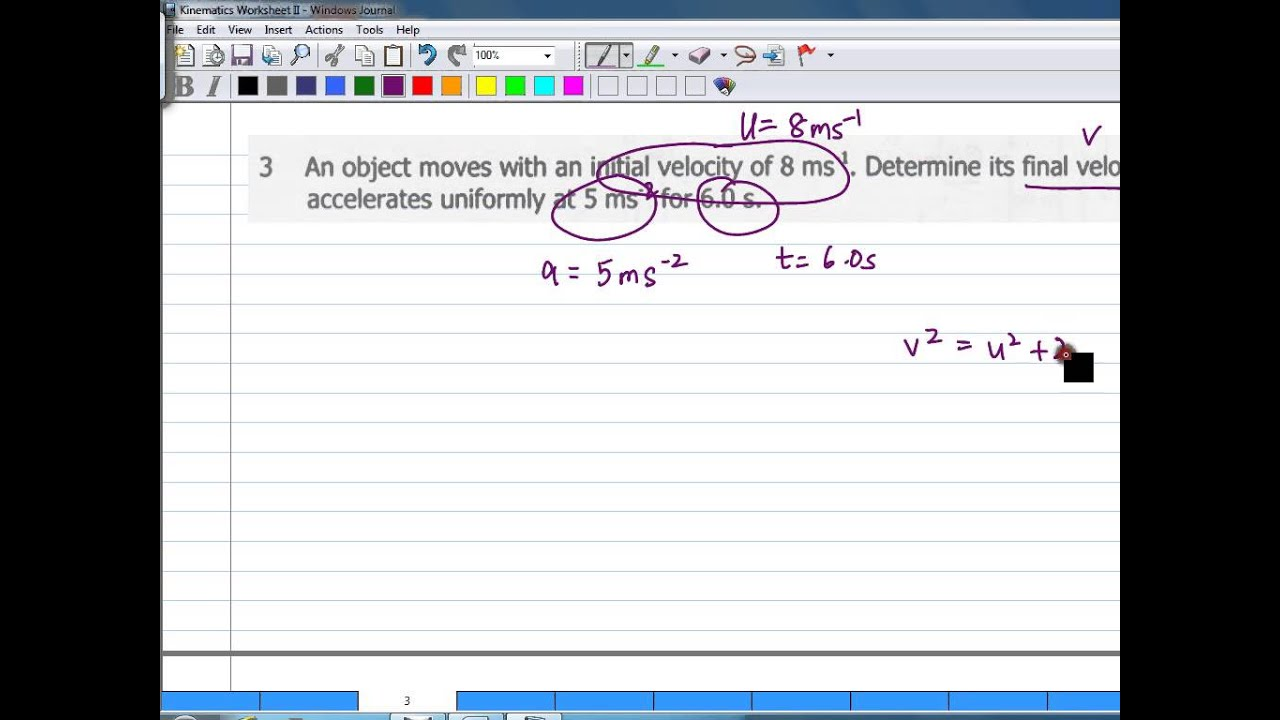 Worksheets Kinematics Worksheet kinematics worksheet ii question 3 youtube 3