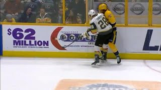 Johansen exits game after Carrier delivers huge hit to chin