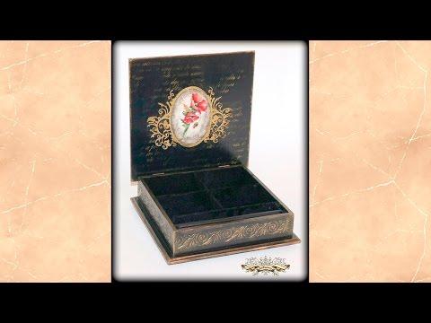Внутренняя отделка шкатулок. Декор внутренней поверхности крышки шкатулки