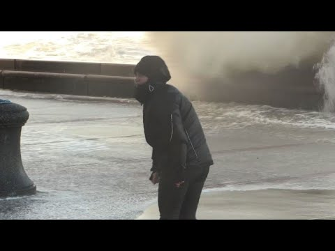 Eleanor's wind and waves sweep coast of northern France