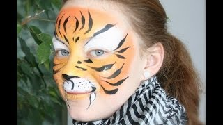 Tiger face painting tutorial - Easy tiger makeup