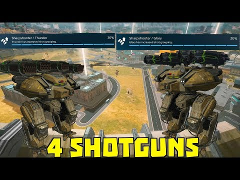 Behemoth with 4 Shotguns (Glory & Thunders) + Shot Grouping Skill | War Robots Test Server