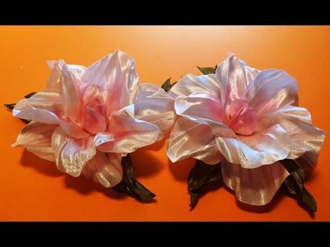 Fabric flowers how to make/satin ribbons hibiscus/tutorial/Цветы из лент:розовый гибискус/легко
