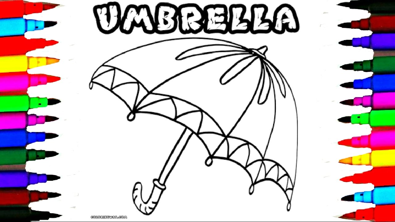 How To Draw And Color Kids Umbrella Coloring Pages L Girls Pretty